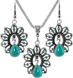 Women's Retro Turquoise Rhinestone Earrings Necklace Jewelry Set Fashion Design