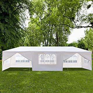 BHWHOME Canopy Tent 10 x 30 Feet for Party Wedding Outdoor Patio Parties Tent BBQ Shelter Canopy Gazebo Heavy Duty Portable Home Use Waterproof Tent with Spiral Tubes (Eight Sides Two Doors)