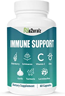 Immune Booster Support System Supplement- with Elderberry, Zinc, Vitamin C, E, B6,Echinacea, Garlic, Probio...