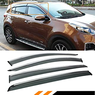 Fits for 2017-2018 Kia Sportage Premium Clip on Chrome Trim Window Visor Rain Guard Deflector