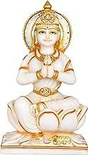 Devi Parvati Seated on Lotus - White Marble Statue