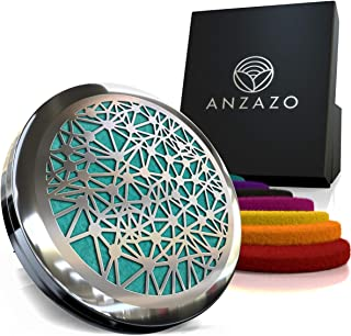 """Anzazo Car Essential Oil Diffuser - 1.5"""" Magnetic Locket Set with Air Vent Clip - Best for Aromatherapy - Fragrance Air Freshener, Scents Diffusers - Jewelry for Car, We are Interconnected Design"""