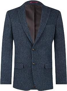 Mens Blue Suit Jacket Regular Fit 100% Wool Herringbone