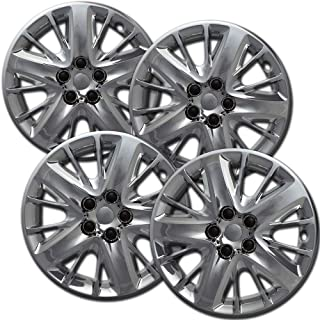 Hubcaps 18 inch Wheel Covers - (Set of 4) Hub Caps for 18in Wheels Rim Cover - Car Accessories Silver Hubcap Best for 18inch Cars Standard Steel Rims - Snap On Auto Tire Replacement Exterior Cap