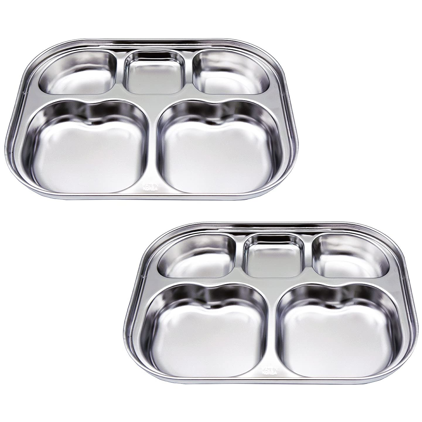 Stainless Steel Divided Plates by KS&E, Kids Toddlers Babies Tray, BPA Free, Diet Food Control, Camping Dishes, Compact Serving Platter, Dinner Snack, 5 Compartment Plate Silver, Set of 2 uqsefmqfqxbz
