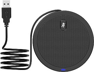 Thlevel Micrófono de Conferencia USB, Condensador Omnidireccional de 360°, Plug & Play, con Función de Silencio, para Vide...