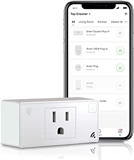 TOPGREENER Wi-Fi Plug with Energy Monitoring, Mini Smart Outlet, Control Lights and Appliances from Anywhere, No Hub Required, White, Compatible with Alexa and Google Assistant, TGWF115PQM