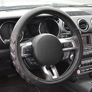 Motor Trend S706B Medium (14.5-15.5) 100% Odorless Car Steering Wheel Cover - Comfort Cushion Grip, Black, Strandard (14.5 to 15.5 inch)