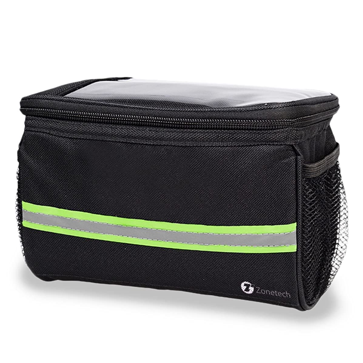 Bicycle Basket Handlebar Bag Black - Zone Tech Premium Quality Handlebar Bag with Reflective Stripe for Outdoor Activity