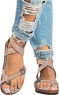 Chellysun Womens Open Toe Gladiator Ankle Strap Buckle Summer Leather Flatform Sandals