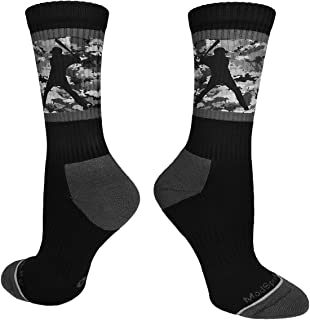 MadSportsStuff Baseball Socks with Player on Camo Background Crew Socks (Multiple Colors)