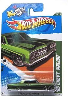 Hot Wheels 2012 65 Chevy Malibu Car Metalflake Green Treasure Hunts Card 60
