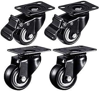 XINKONG 4 stks Meubelwielen Swivel wielen Mute Wear-Resistant Pu Rubber Caster wiel, met rem vergrendelbaar, Casters Load ...