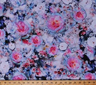 Cotton Hoffman Challenge 2018 Diamonds Roses Gems Gemstones Precious Stones Rhinestones Jewels Jewelry Jewellery Jewelers Flowers Floral Shine On! Cotton Fabric Print by the Yard (Q4433-162-JEWEL)