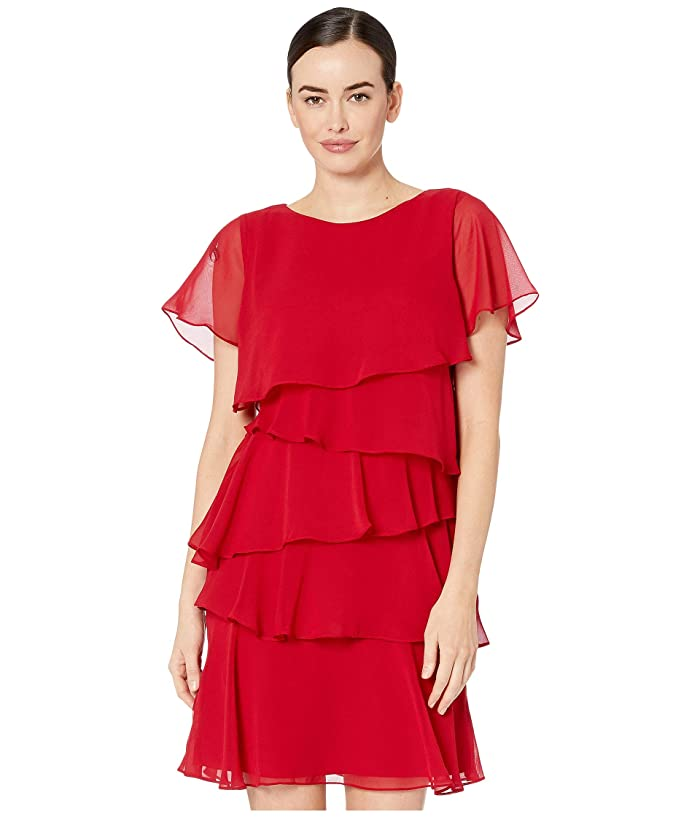 1920s Style Dresses, 20s Dresses Tahari by ASL Tiered Chiffon Flutter Sleeve Dress Ruby Womens Dress $124.20 AT vintagedancer.com