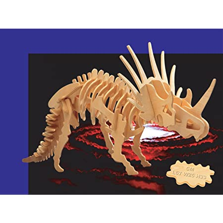 Puzzled 3D Puzzle Styracosaurus Dinosaur Wood Craft Construction Model Kit Educational DIY Wooden Dino Toy Assemble Model Unfinished Crafting Hobby Puzzle to Build /& Paint for Decoration 41pc Pack