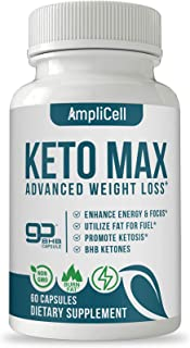 Keto Pills - Advanced Keto BHB Supplements w/Carb Blocker - Keto Diet Pills to Suppress Appetite Fast – Boost Energy and Metabolism – Amplicell Keto Max for Women and Men