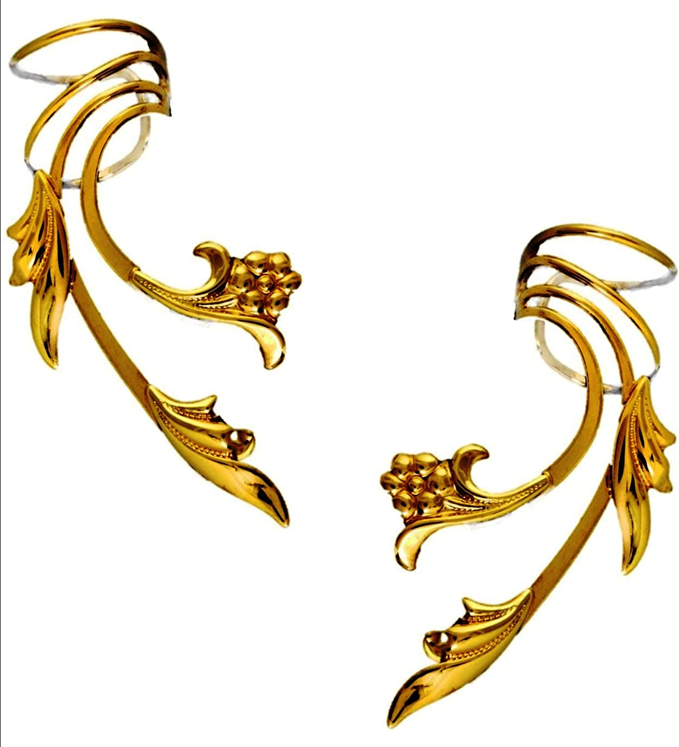 Ear Charms Delicate Over item handling ☆ Flower Leaf Nonpierced Wave Long Special price for a limited time Cuff P