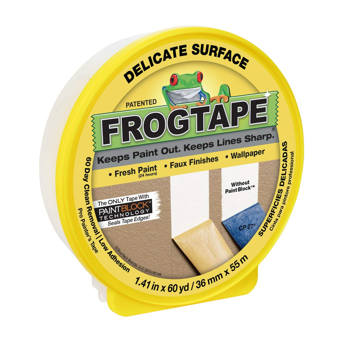 FrogTape Delicate Surface Painting Tape, 1.41 in. x 60 yd. Roll, Yellow (280221)