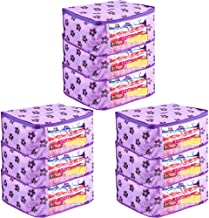 PrettyKrafts Saree Cover Set of 9 Large Flower Prints/Wardrobe Organiser/Clothes Bag_Purple