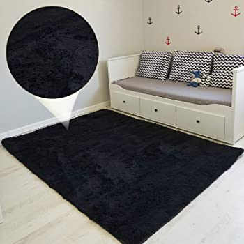 alfombras Salon Grandes - Pelo Largo Alfombra habitación Dormitorio Lavables Comedor Moderna vivero (Negro, 160 x 230 cm)