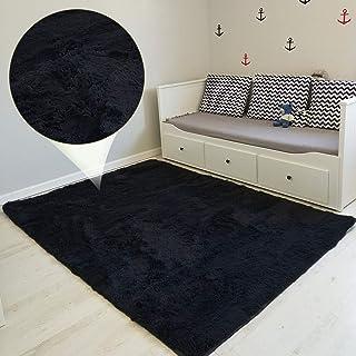Tapis Salon Shaggy - Descente de lit Chambre Grande Taille Tapis Poils Longs Moderne tapid Moquette Poil Long tapi (Noir, ...