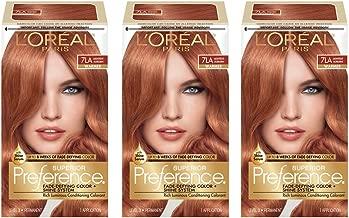 L'OrÃal Paris Superior Preference Fade-Defying + Shine Permanent Hair Color, 7LA Lightest Auburn, Pack of 3, Hair Dye