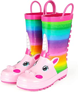 Kids Rain Boots, Girl Unicorn Animal Printed Rubber Boots with Easy on Handles