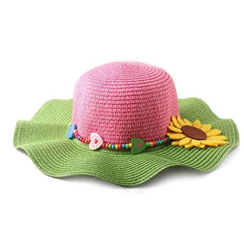 38224bf3744 Dantiya Kids Multi-Colors Large Brim Flower Beach Sun Hats for Girls