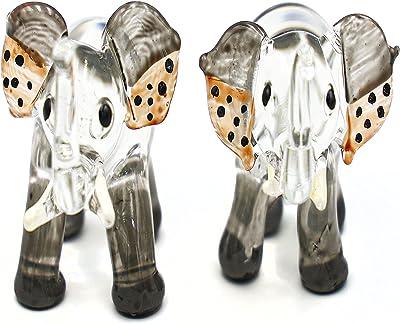 I-DO-CARE Glass Black Clear Yellow Ears with Black Dots Art Crystal Elephant Animal Miniatures Statue Figurines 2pcs/Set Lucky Elephants for Home, Office, Kitchen, Bathroom Décor, Shelf Ornaments