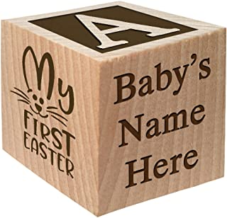 Baby's First Easter Gift 2019 - Personalized Block Easter Gift Custom Engraved Wooden Baby Block for Boy and Girl Choose Image Easter Basket Bunny Egg He is Risen My First Easter Cross