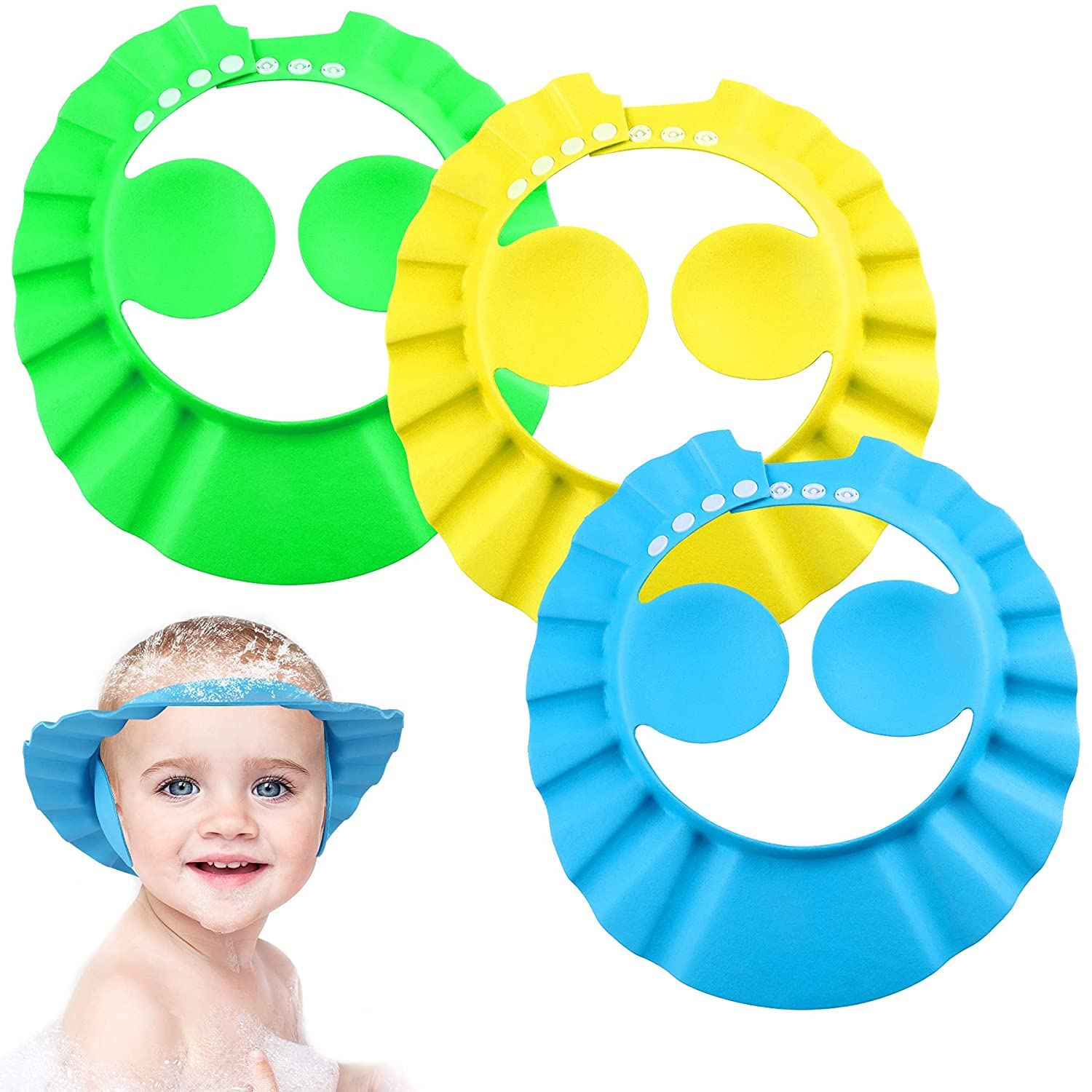 Baby Shower Cap for Boy Adjustable Toddler Bath Shampoo Hat with Ear Protection 3Pcs Children Wash Hair Foam Shield Hats Protect Your Baby Eyes