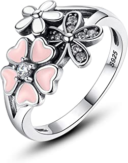 Sterling Silver Rings for Women Cherry Blossom Ring for Girls Teen Promise Rings for Her