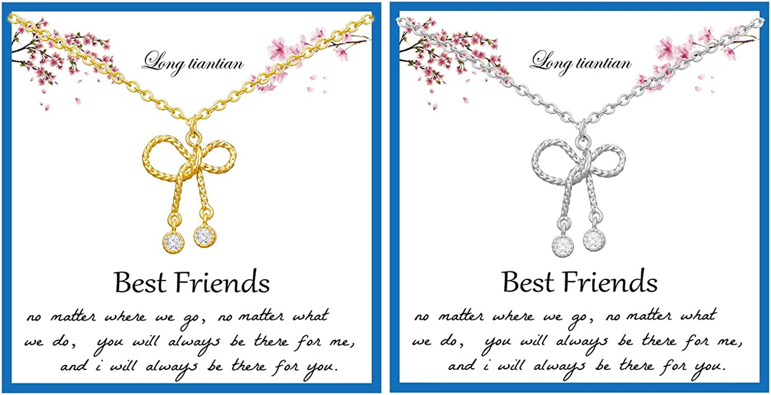Max 87% OFF Best Friend Necklace for Portland Mall 2 Dainty Kno Flower Love Lotus