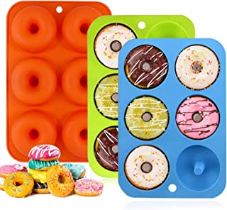 3 stampi ciambelle silicone,6 cavit/à Antiaderenti Sicuri Senza Bisfenolo A Antiaderente /&Termoresistente Stampi ciambelle per Cupcake,muffin bagel,biscotti,Gelatine VASIN Stampo Donuts