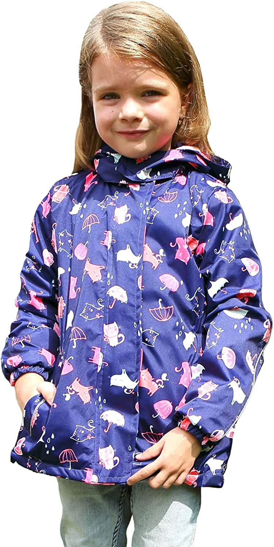 L SERVER Girls Printing Jackets Waterproof Windproof Safty Coat Hooded Raincoats Jacket for Kids