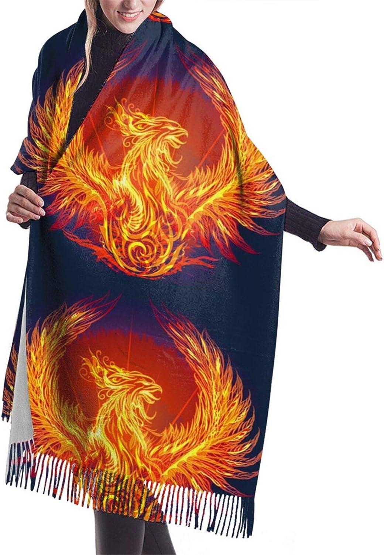 Womens Soft Cashmere Scarf,Fire Phoenix Is Reborn Shawl Scarf,Premium Large Pashmina,Warm Wrap Blanket Solid Shawl Elegant Wrap