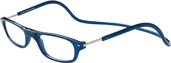 TBOC Gafas de Lectura Presbicia Vista Cansada – Montura Azul Graduadas +2.00 Dioptrías Hombre Mujer Regulables Imantadas Magnéticas Plegables Lentes Aumento Leer Ver Cerca Cuello Cierre Imán