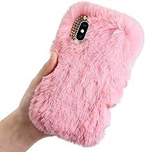 Pluche Hoes voor Samsung Galaxy S10 Plus, LCHDA Pluizig Schattige Kunstmatig konijnenbont Haar Leuk Glad Wazig Pluis Zacht...