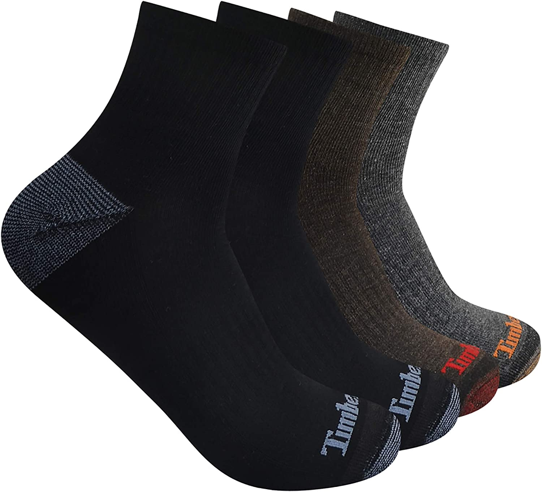 Timberland mens 4-pack Half Cushioned Quarter Socks