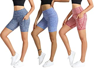 CongYee Women's 3 Pack Athletic Shorts with Pockets Loose Gym Yoga Shorts Quick-Dry Workout Sports Active Running Shorts