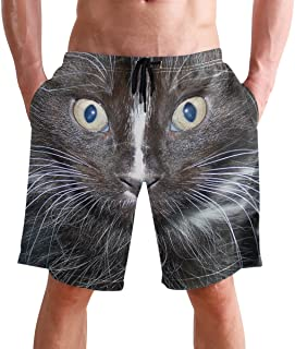 Beach Shorts, Funny Cat Printed Mens Trunks Swim Short Quick Dry with Pockets for Summer Surfing Boardshorts Outdoor Water...