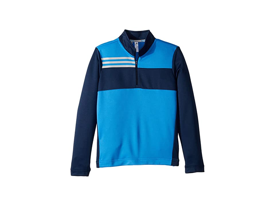 Image of adidas Golf Kids Color Blocked Half Zip Layer (Little Kids/Big Kids) (True Blue) Boy's Long Sleeve Pullover