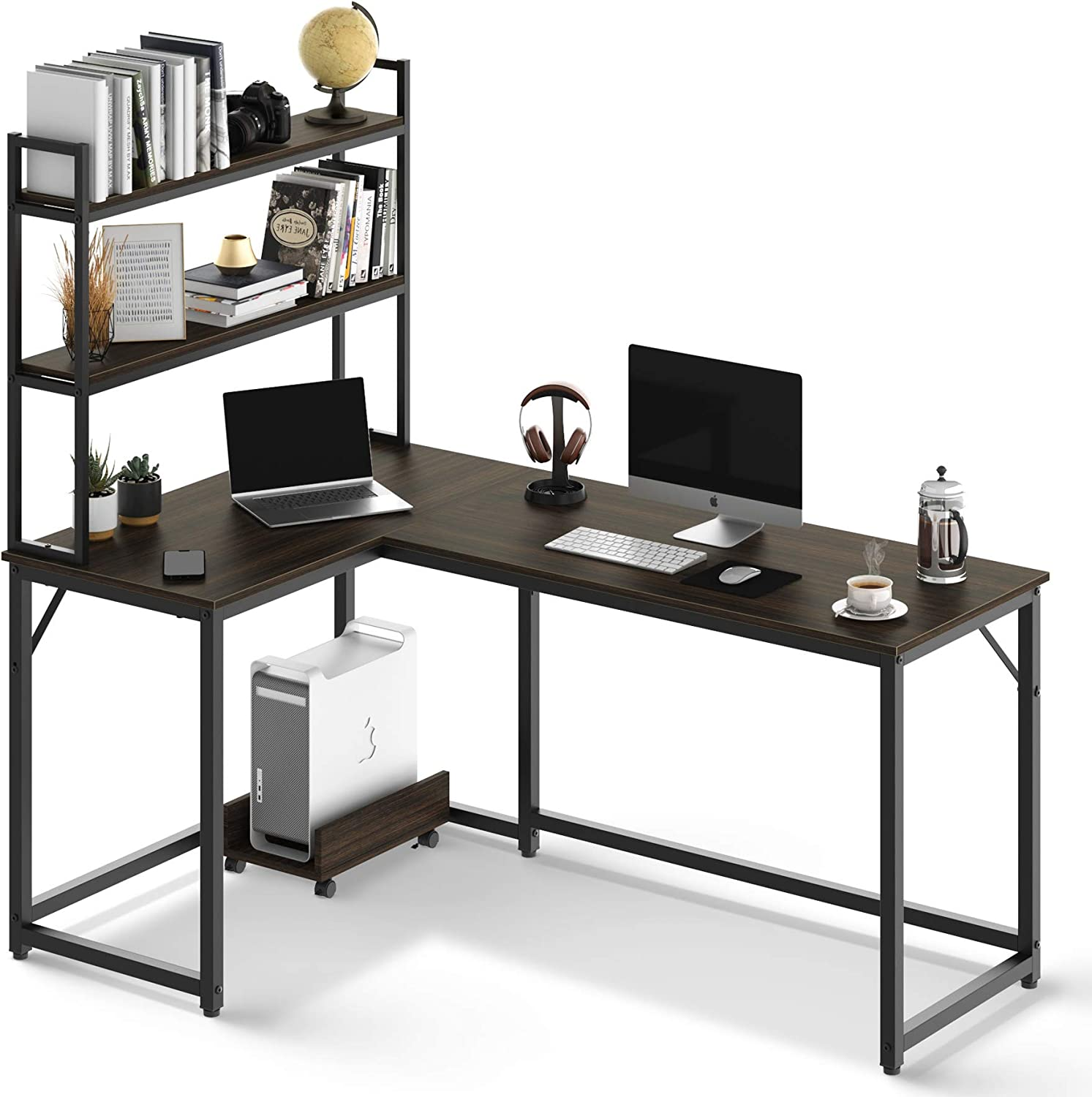 L Shaped Desk with Bookshelves 59 Comp Brown Inches Home Office ハイクオリティ 最安値挑戦
