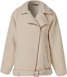 Zaiforee Women Teddy Faux Fur Biker Jacket