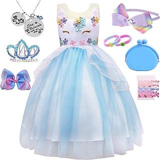 Girl Kid Unicorn Costume Pageant Flower Princess Dress w/ 7 Unicorn Accessories (1-2 Years, Blue)