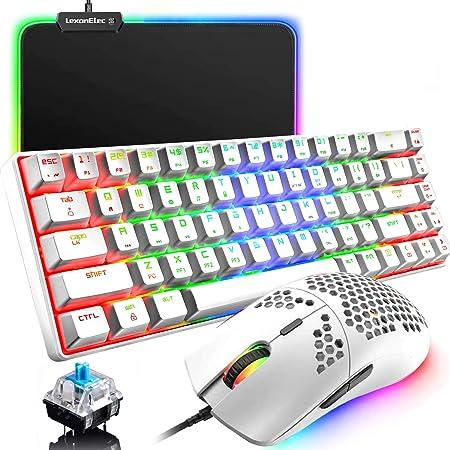 60% Teclado mecánico para juegos Switch Azul iluminación RGB Ergonómica Mini 68 Teclas + Ratón ligero Gaming RGB 6400DPI + Alfombrilla de ratón RGB - ...