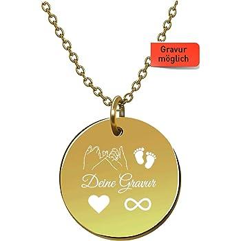 Tuesbelle Damen Kette mit Gravur – Premium mit Plättchen 18k Gold vergoldet, Frauen Halskette mit rundem Anhänger, Plättchenkette, Goldkette, Gratis Geschenk!