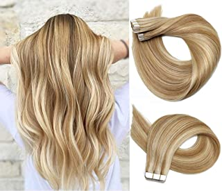 Tape In Hair Extensions 8A 20pcs/50g Per Set #12P613 Golden Brown Highlighted Blonde Piano Color Double Sided Tape Skin Weft Remy Silk Straight Hair Glue in Extensions Human Hair 20 Inch