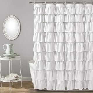 Lush Decor, White Ruffle Shower Curtain | Floral Textured...